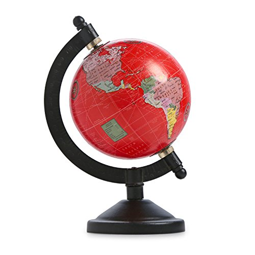 Red Globe Decorative Iron Stand Globe 3 Inch Plastic Globe Table Geography Globe ()