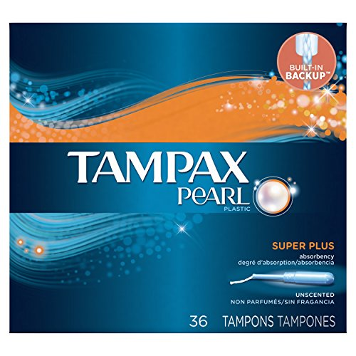 Tampax Pearl Tampons with Plastic Applicator, Super Plus Absorbency, Unscented, 36 Count