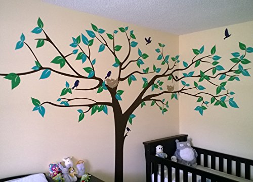 PopDecors – Colorful Super Big Tree Four Colors-133inch W – Beautiful Tree Wall Decals for Kids Rooms Teen Girls Boys Wallpaper Murals Sticker Wall Stickers Nursery Decor Nursery Decals