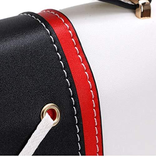 Crossbody Borse disegno Republe Il chain della Contrasto di ragazza delle elaborazione Bianca di dell'unità mezza di merletto donne estate colore borse spalla nxHSn