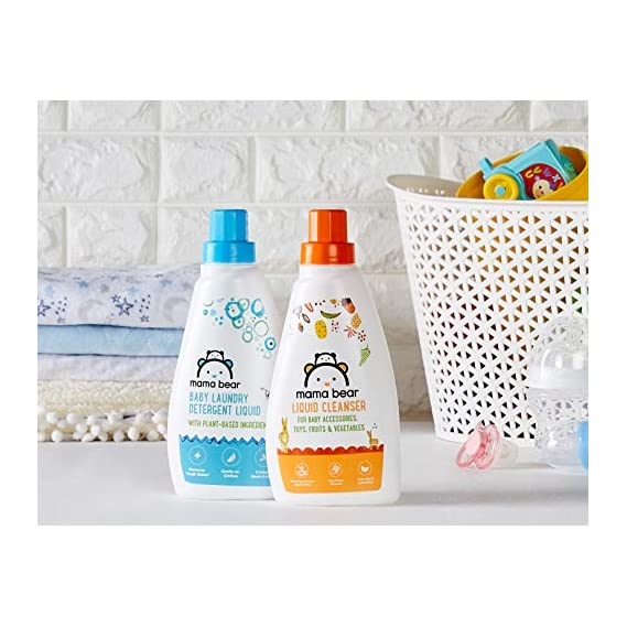 Amazon Brand - Mama Bear Plant Based Baby Laundry Detergent & Liquid Cleanser Combo - 500 ml