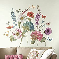 RoomMates RMK3261GM Lisa Audit Garden Flowers Peel and Stick Giant Wall Decals