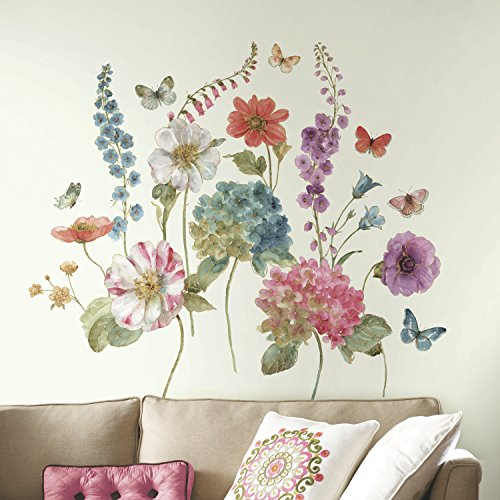 Floral Wall Decals - RoomMates Lisa Audit Garden Flowers Peel And Stick Giant Wall Decals