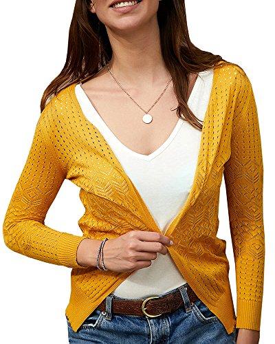 Huiyuzhi Women's Summer Crochet Cardigan Sweaters Lightweight Thin V-Neck Hollow Long Sleeve Soft Basic Knit Coats Yellow