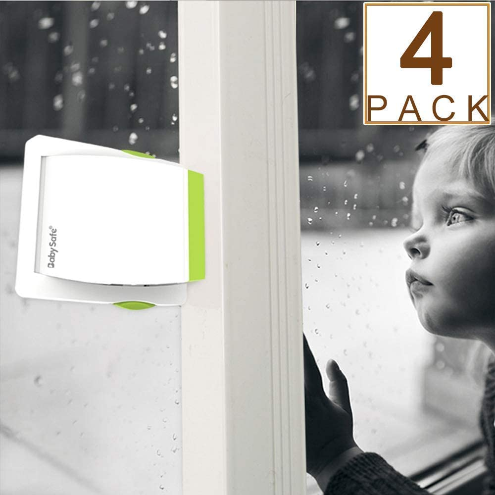4 Pack Sliding Glass Door Locks for Child Safety, Baby Proof Closets, Sliding Window Locks, with Strong Adhesive Tape