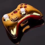 For Custom Modded Xbox 360 Chrome Gold & Red Wireless Controller Shell Case MOD
