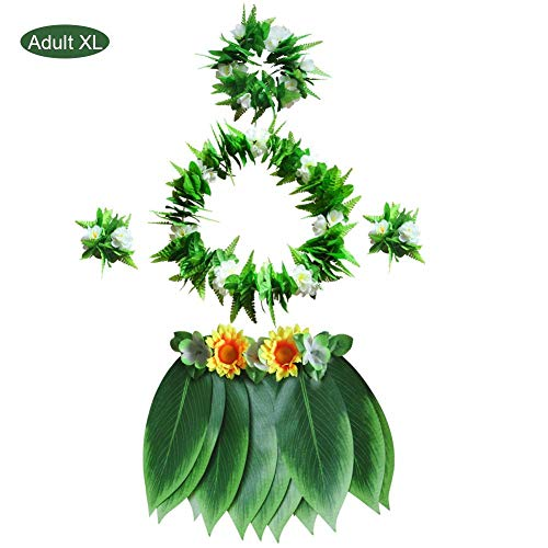 sweet dream Hawaii Hula Green Leaf Wreath Necklace Bracelet Leaf Skirt BBQ Party Clothing Kids or Adults Luau Party Decorations Supplies