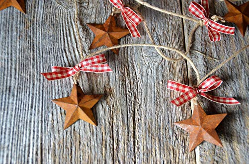 Buffalo Plaid Red and Cream Rustic Americana Star Garland 6', Farmhouse Country Charm 5 Point Tin Star Garland on Jute, USA 4th of July Picnic