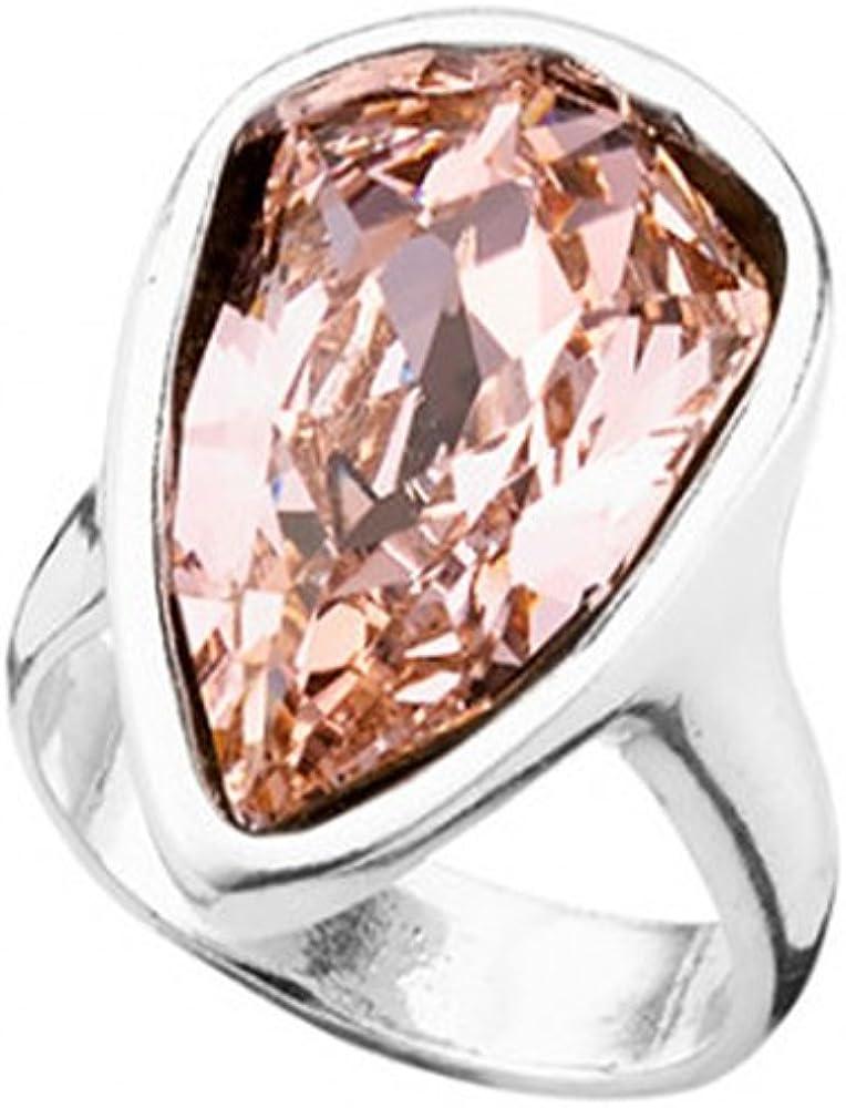 UNOde50 Original Anillo bañado en Plata, Disponible en Tres Tallas, y Que Incluye un Cristal de Swarovski® en Color Rosa Nude y Forma de Pavo Real.
