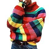 LALA IKAI Women Sweater Oversized Striped Knit Pullover Turtleneck Loose Cardigans Sweater Rainbow