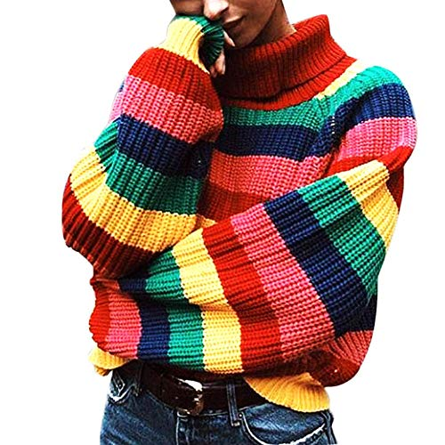 LALA IKAI Women Sweater Oversized Striped Knit Pullover Turtleneck Loose Cardigans Sweater Rainbow