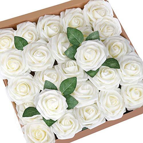 Higfra Artificial Flowers Cream Fake Roses Real Looking Foam Roses