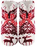 J.Ann-Womens Cozy Fleece Sherpa lined Snowflake and Deer Design?Printed Slipper Sock Booties, non Slip Bottom, Foot size: 24-25cm, Red