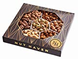 #1: Nut Haven Gourmet sweet & salty Nut Gift Basket/Box ~ variety of freshly roasted 7 section nut tray ~ Great for: Corporate, Holiday, Birthday, Get well, Thank you, Men & Women, snack ~ Prime
