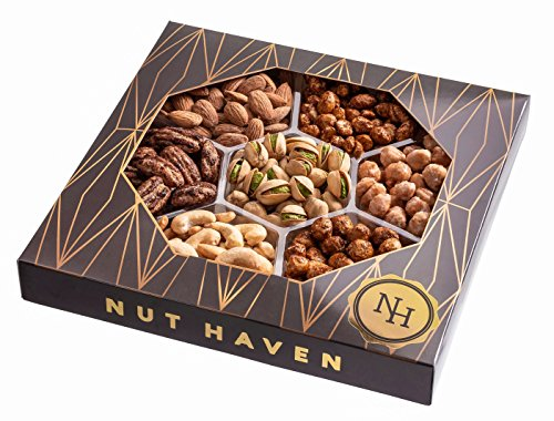 Dry Roast Pecans - Nut Haven Gourmet sweet & salty Nut Gift Basket/Box ~ variety of freshly roasted 7 section nut tray ~ Great for: Corporate, Holiday, Birthday, Get well, Thank you, Men & Women, snack ~ Prime