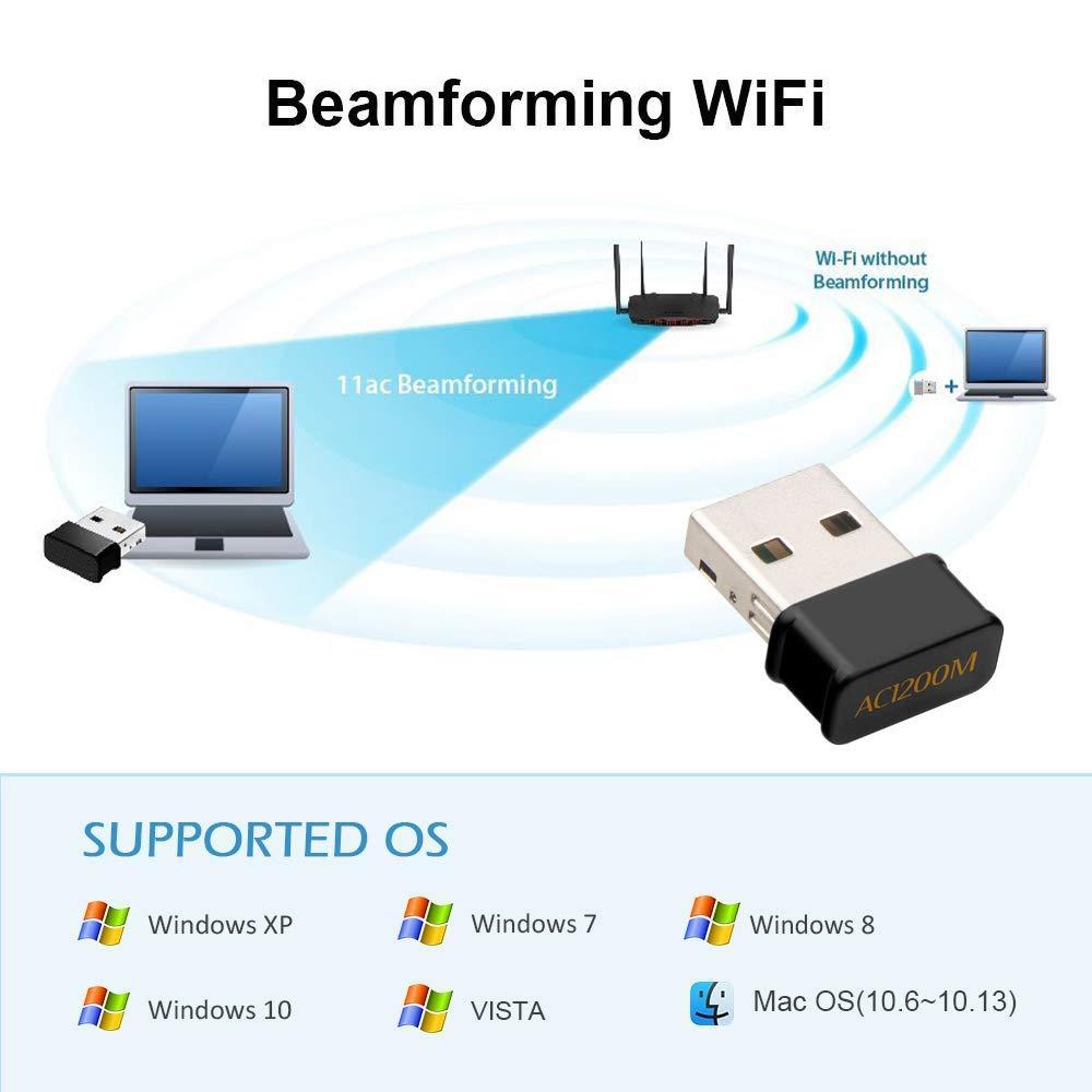 Maxesla WiFi USB Antena Adaptador 1200Mbps Mini WiFi Receptor Banda Dual 2.4G//5GHz Mac OS 10.7-10.12 para PC Desktop Laptop Tablet Soporta Windows 7//8//8.1//10 Mac OSX
