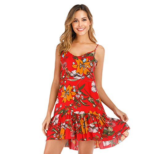 Fastbot Women's Casual Short Sleeve T Shirt Dresses Sexy Fashion Print Hanging Bandwidth Truffle Back Dress Red