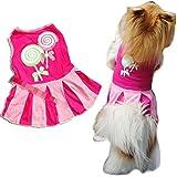 YOMXL Candy Lollipop Pattern Pet Dress Puppy Elegant Lovely Vest Clothes Outfit Party Skirt Summer Dress (S, Hot Pink)