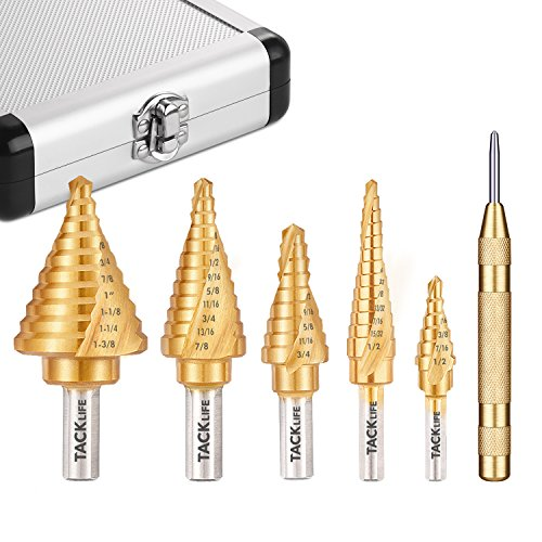 Step Drill Bit Set, Tacklife PSD4 Titanium Spiral Grooved Drill Bit & Automatic Center Punch, Double Cutting Blades, X-Type Opening, Laser Marking|5-Piece Set|Total 50 Sizes - Double Spiral Metal