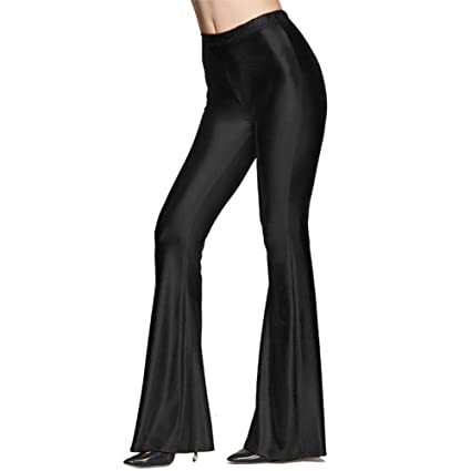08c3071b3a859f Womens Faux Leather PU Sparkly Stretchy Sexy Flare Pants, Full Length High  Waist Slim Fit