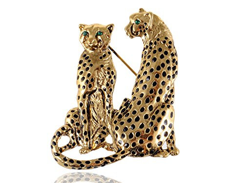Alilang Golden Tone Tuquoise Blue Eyed Spotted Leopard Family Twin Lover Brooch ()