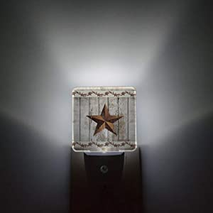 Night Light Plug in LED Lamp Automatic Sensor Night Lights Plug into Wall Western Texas Star Rustic Wood Farm Pattern Bedroom Hallway Bright Decor Square Dim Night-Lights for Kids Children Girl Adult