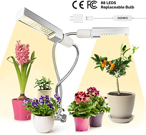 LED Grow Lights for Indoor Plants Full Spectrum for Growing, Seedlings – Fruiting Blooming – Sun Lamp For Plants – Auto On Off Switch, 3 Lighting Modes, 5 Dimmable Levels 360 Rotating Dual Head