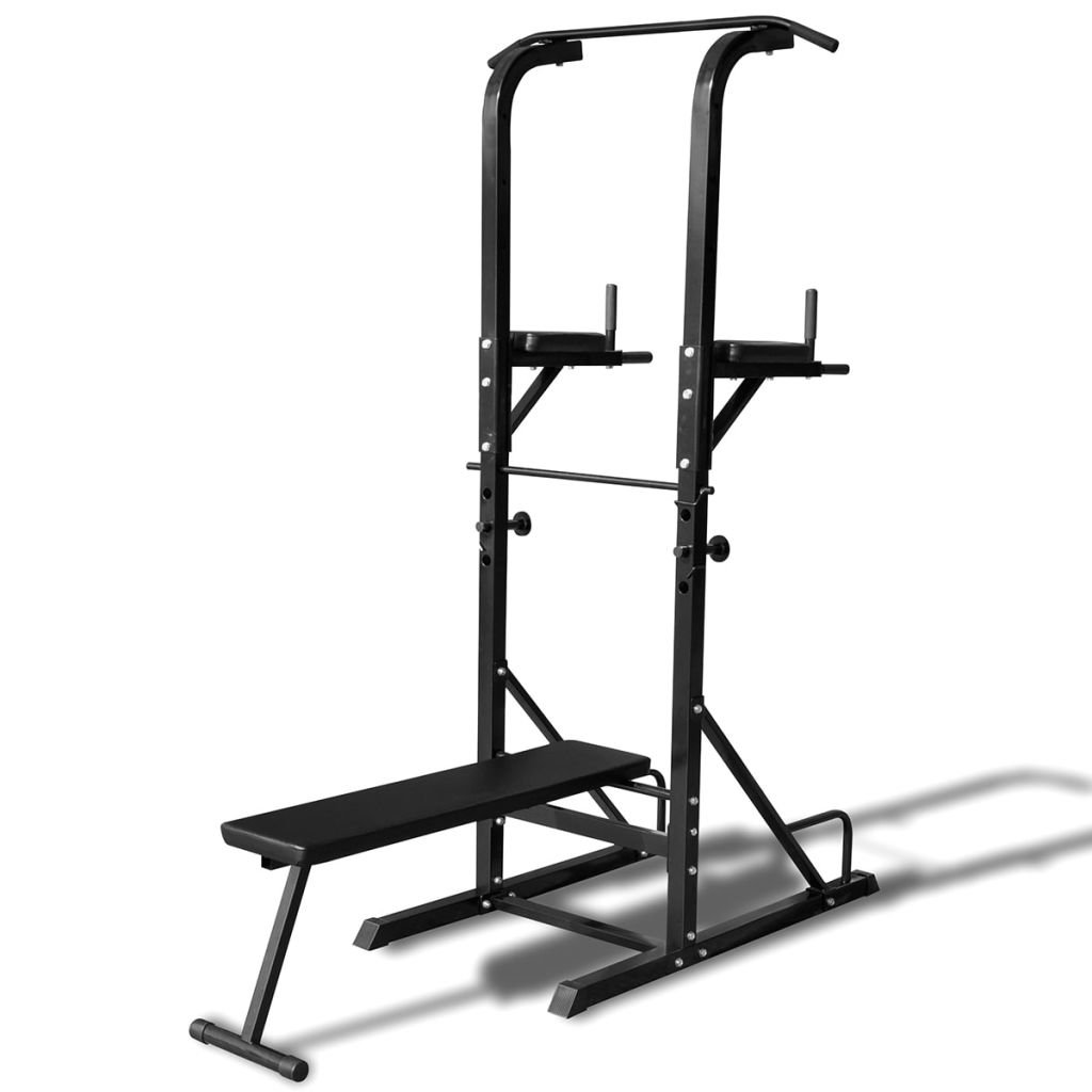 vidaXL Home Gym Power Tower Workout Station w/ Sit-up Bench Pull Push Chin-up Dip Abs