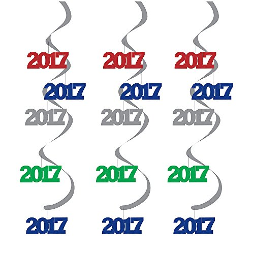 Creative Converting 316411 5 Count Dizzy Danglers 2017 Party Decorations, Assorted -