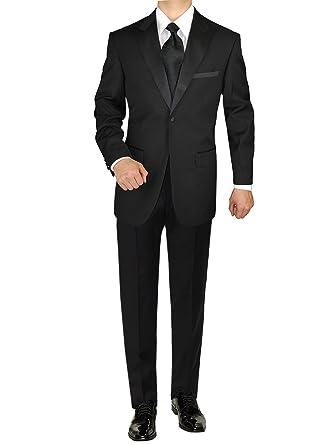 5eeb9d1ecc3 GN GIORGIO NAPOLI Men's Tuxedo Suit 1 Button Peak Lapel Adjustable Pants  Black (36 Short