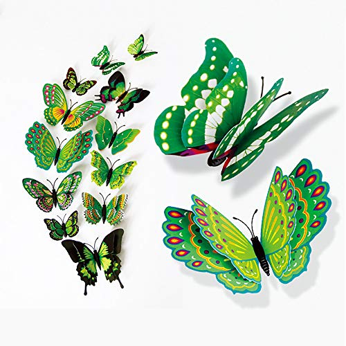 (xatos Wall Decal Butterfly 3D DIY Wall Stickers Fridge Magnet Home Decor Butterfly Stickers Room Decor Wallpaper Stick and Peel for Kids Room 12 Pcs)