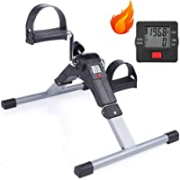 Sampri Fitness Cycle - Foot Pedal Exerciser - Foldable Portable Foot, Hand, Arm, Leg Exercise Pedaling Machine - Folding Mini Stationary Bike Pedaler, Fitness Rehab Gym Equipment for Seniors, Digital