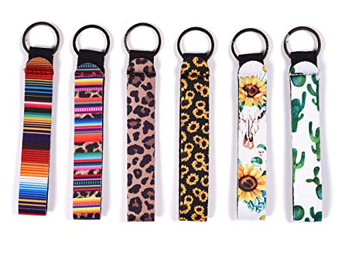 6 Pack Neoprene Wristlet Keychain