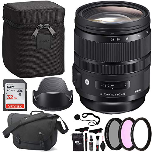 Sigma 24-70mm f/2.8 DG OS HSM Art Lens for Canon, Sandisk Ultra SDHC 32GB Memory Card, Polaroid 82mm Filter Kit, Lowepro Bag and Accessory Bundle