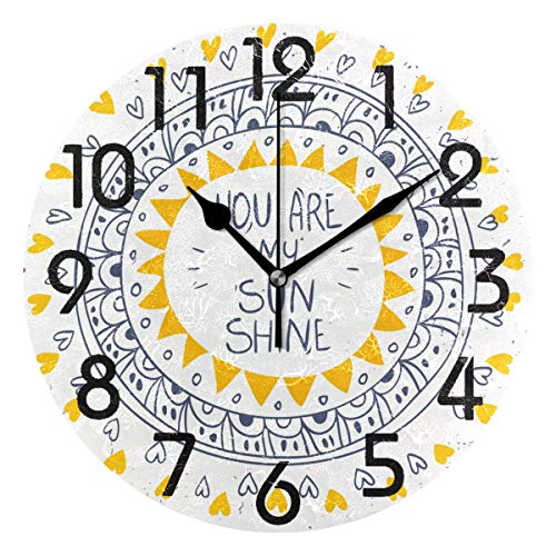 Naanle Stylish and Beautiful Pattern You are My Sunshine Print Round Wall Clock Decorative, 9.5 Inch Battery Operated Quartz Analog Quiet Desk Clock for Home,Office,School ()