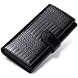 JEEBURYEE RFID Blocking Wallet for Women Large Capacity Genuine Leather Clutch Wallet Card Holder Long Ladies Trifold Wallet Purse Black