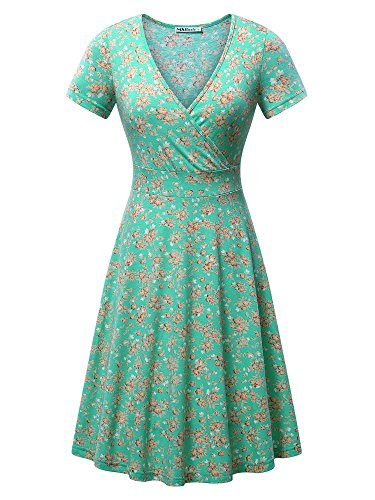 MSBASIC Dress for Women Casual, Womens Deep V Neck A Line Short Sleeve Flare Green Midi Dress Large Floral-1 ()