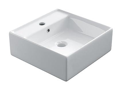 STARBATH PLUS Lavabo Ceramica Soprapiano Lavandino Da Appoggio Bianco Forma  Cuadrado 40 x 40 x 15 cm SK40