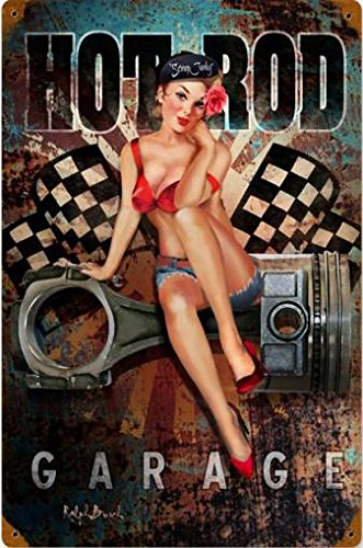 Hot Rod Garage Pin Up Metal Sign ()