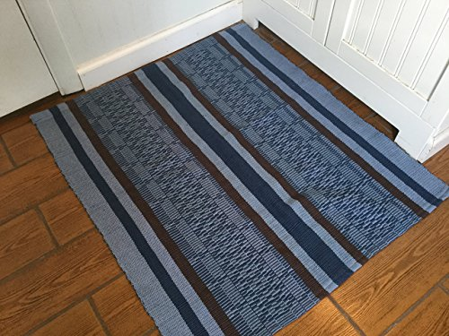 Royal Blue with Brown Stripes Handwoven Washable Kitchen Rug