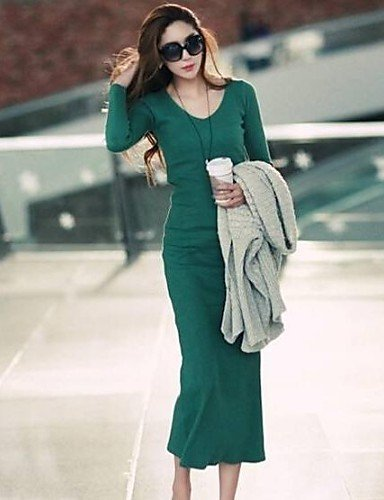 PU&PU Robe Aux femmes Moulante Décontracté , Couleur Pleine Col en V Maxi Coton , dark gray-2xl , dark gray-2xl