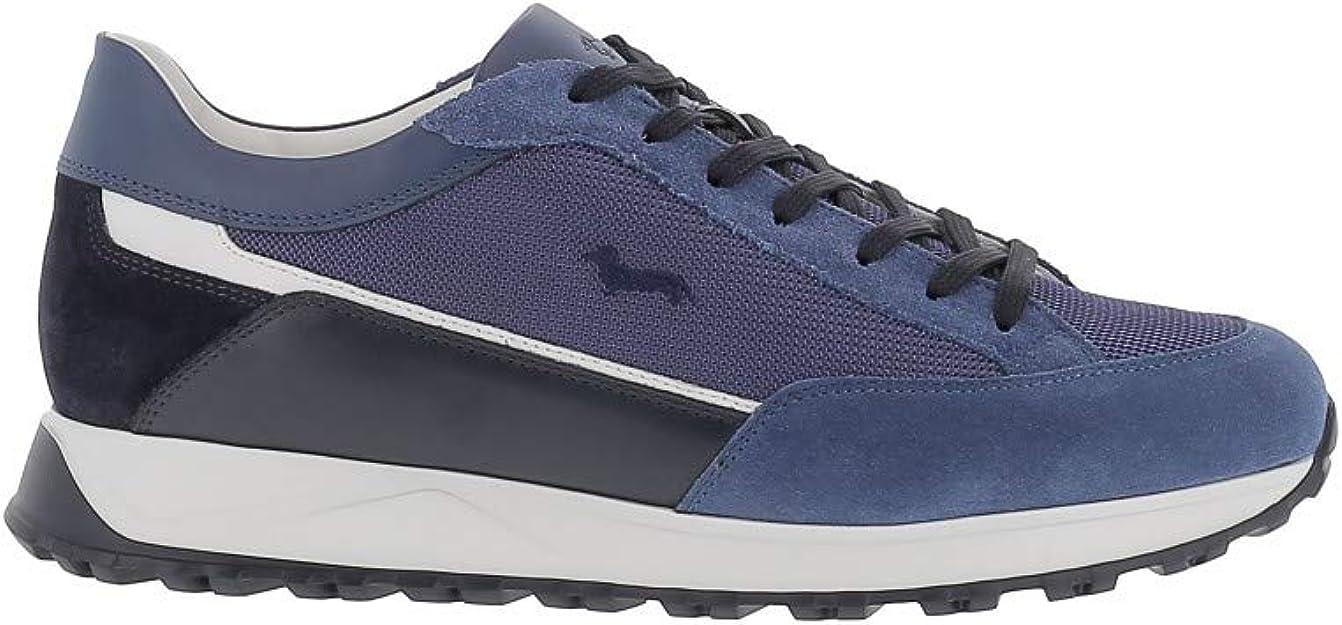 Harmont & Blaine Sneakers Azzurra in Pelle Scamosciata E Tessuto con  Bassotto Ricamato: Amazon.it: Scarpe e borse
