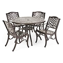 Garden and Outdoor Christopher Knight Home Hallandale Outdoor Cast Aluminum Dining Set for Patio or Deck, 5-Pcs Set, Hammered Bronze patio dining sets