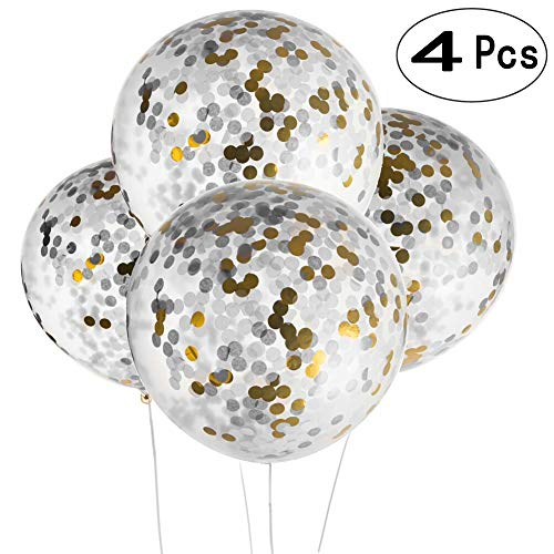 36 Inch Giant Black Gold Christmas New Years Party Confetti Balloons Decorations Clear Latex Helium Balloons Baby Shower Birthday Wedding Engagement Favors Party Confetti Balloons Decorations