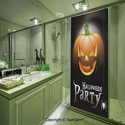 PUTIEN Door Glass Sticker Halloween Party Theme Scary Pumpkin on Abstract Modern Backdrop Spider Decorative for Bedroom Glass Privacy(W23.6xL78.7) ()