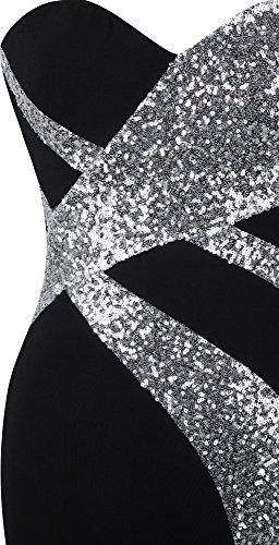 Ange-mode Cru Sweetheart Femmes Robe De Bal Classique Sequin Noir Argent Noir