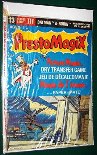 PRESTO MAGIX- Picture Magic- Dry Transfer Game- Jeu De Decalcomanie- Magie De L'Image- Series III- # 13- BATMAN & ROBIN- These are the very scarce bilingual version- English and French- 1979- 1st Printing