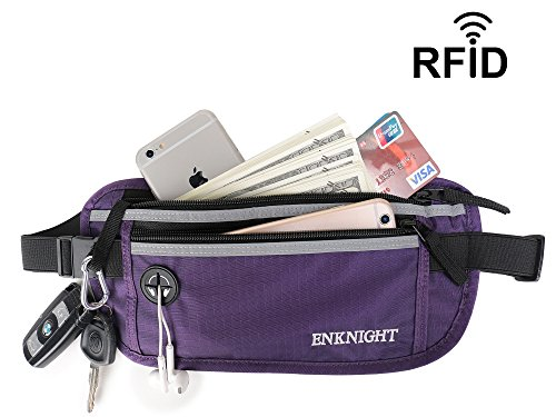 ENKNIGHT Big RFID Money Belt for Travel Running Waist Pack Fanny Pack Purple