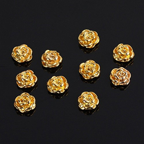 TOOGOO(R) Golden Rose Shape 10 pieces Silver 3D Alloy Nail Art Slices Glitters DIY Decorations