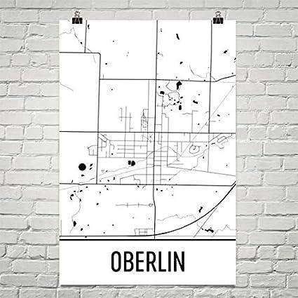 Amazon.com: Modern Map Art Oberlin Ohio Map, Oberlin College Art